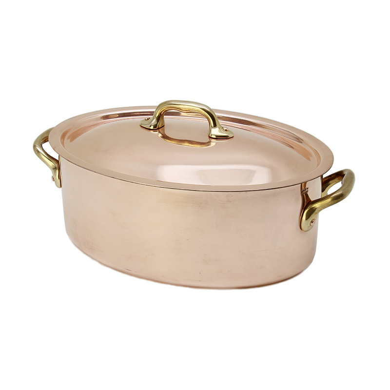 銅の両手鍋 楕円