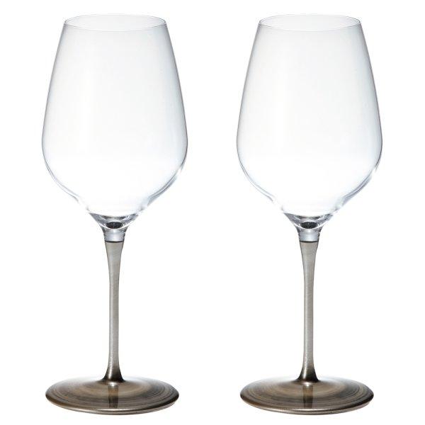 画像1: 日本製 漆 日本酒・ワイングラス 2客組 シルバー L 550ml 【うるし/日本酒グラス/漆塗り/漆器/ペアグラス/父の日】 (1)
