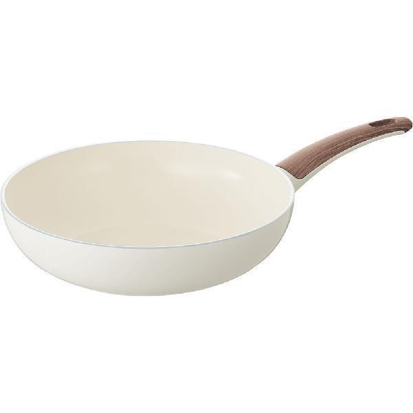 画像1: GREEN PAN グリーンパン ウッドビー IH ウォックパン(中華鍋) 28cm ホワイト (1)